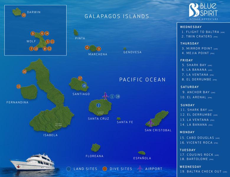blue spirit galapagos itinerary map