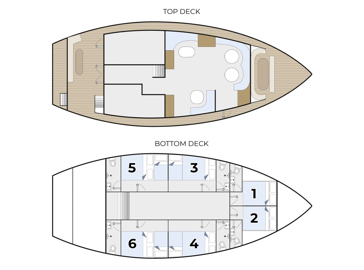 Blue Spirit Maldives Liveaboard Deck Plan