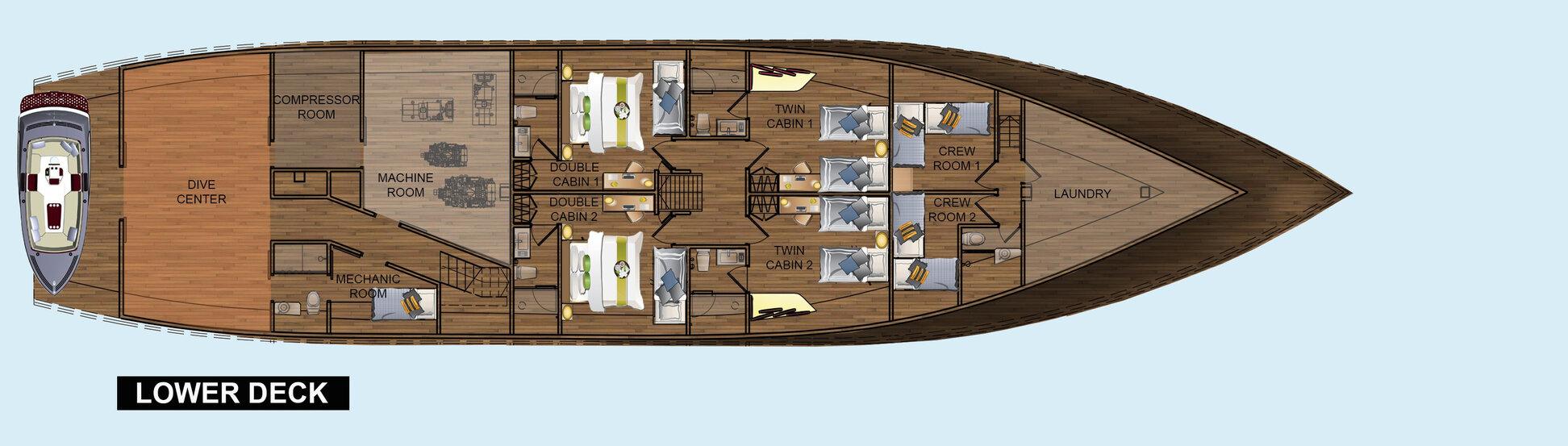 Coralia Liveaboard's deck plan