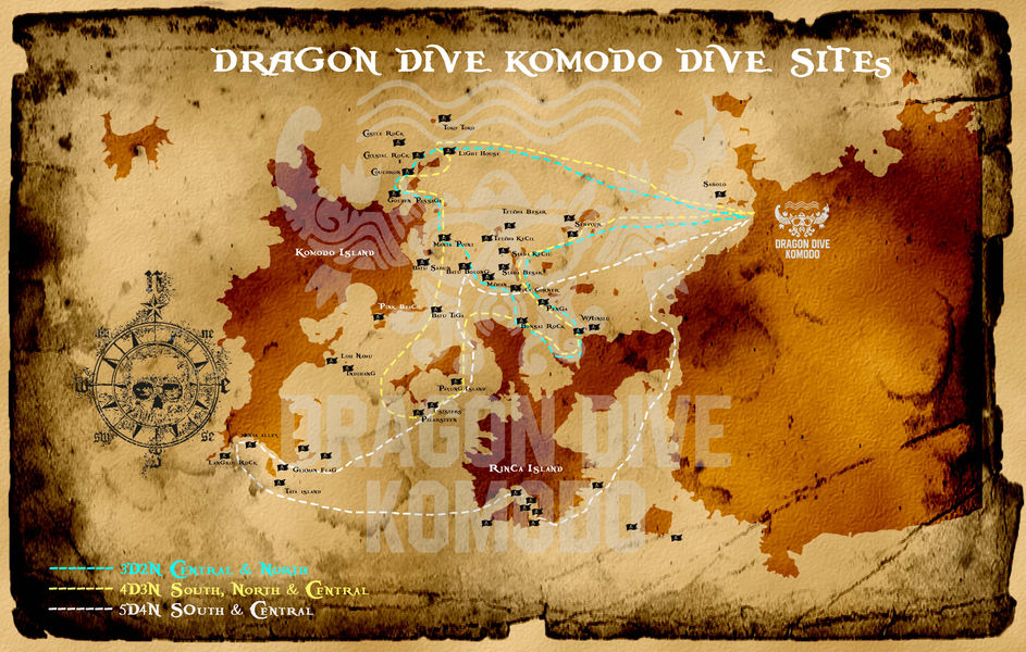Dragon Dive Komodo's dive map