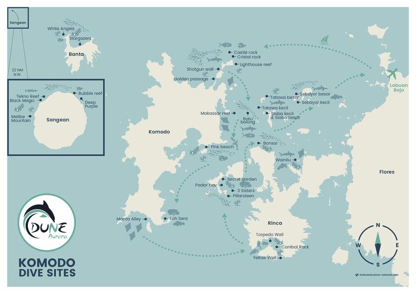 Dune Aurora Komodo Itinerary Map