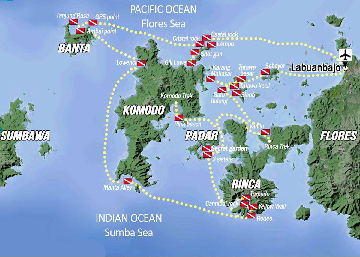Komodo itinerary map