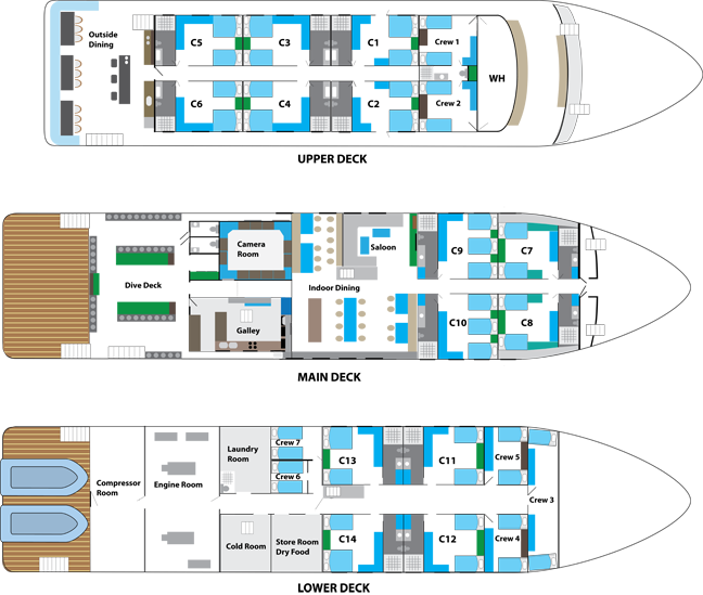 New White Manta Liveaboard deck plan