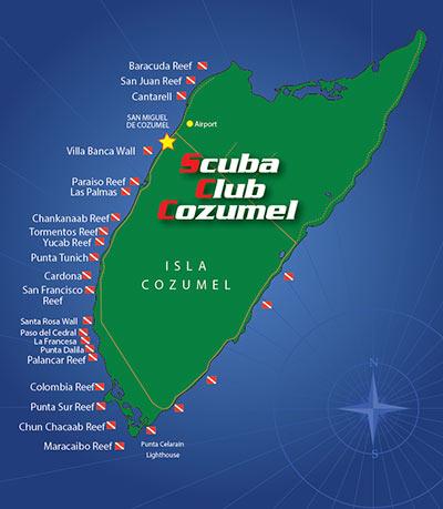 Scuba Club Cozumel Map