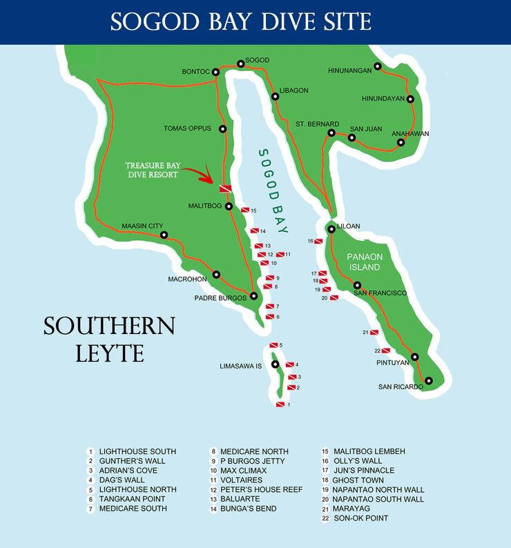 Treasure Bay Dive Resort Philippines' dive map